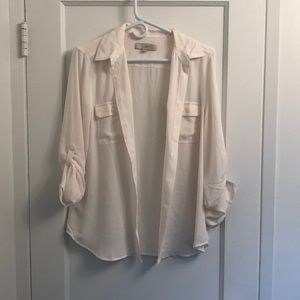 LOFT sheer white button up top. NWOT